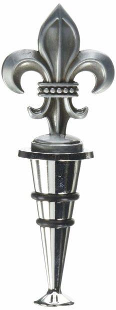 Thirstystone Wine Stopper, Fleur de Lis, Silver