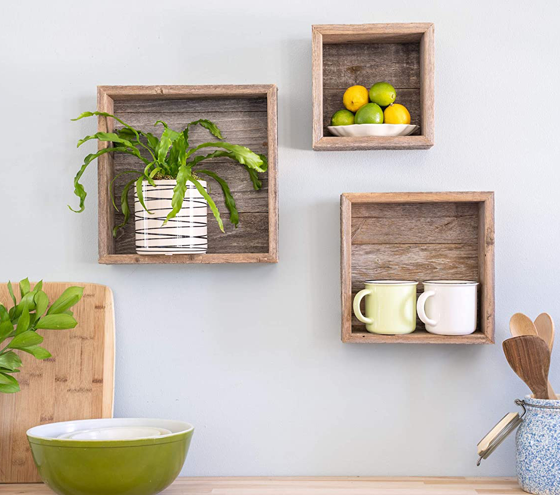 BarnwoodUSA Rustic Shelves, Deluxe Square Floating Wood Shadowbox, Home Decor, Set of 3 (Natural Weathered Gray)