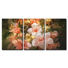 """wall26 - 3 Piece Canvas Wall Art - Illustration - Beautiful Flowers,Color Blooming,Illustration,Digital Painting - Modern Home Art Stretched and Framed Ready to Hang - 16""""x24""""x3 Panels"""