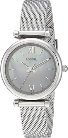 Fossil Women's Carlie Mini Quartz Stainless Steel Mesh Three-Hand Watch, Color: Silver (Model: ES4432)