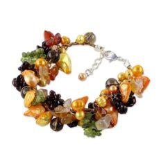 NOVICA Multi-Gem Quartz Cultured Freshwater Pearl Stainless Steel Beaded Bracelet, Precious Fruit'