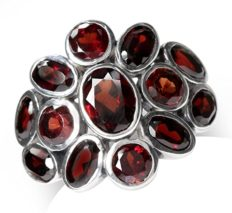 Silvershake 4.75ct. Natural Garnet White Gold Plated 925 Sterling Silver Cluster Cocktail Ring