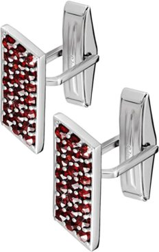 925 Sterling Silver Cufflinks Set for Men - Luxury Handmade Designer Cuff Links with Red Bohemian Garnet Stones - Ideal for Weddings, Groomsmen & Best Man - Great Gift for Fathers
