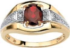 Men's 18K Yellow Gold over Sterling Silver Oval Cut Genuine Red Garnet and Diamond Accent Ring