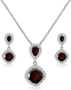 Sterling Silver Garnet & White Topaz Dangle Earrings & Necklace Set