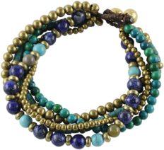 NOVICA Lapis Lazuli Brass Beaded Torsade Bracelet 'Freedom of Expression in Blue'