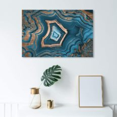 """The Oliver Gal Artist Co. Abstract Wall Art Canvas Prints 'Dreaming About You Geode' Home Décor, 36"""" x 24"""", Blue, Gold"""