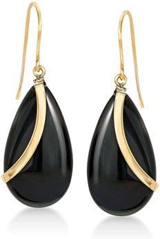 Ross-Simons Pear-Shaped Black Onyx Drop Earrings in 14kt Yellow Gold