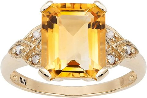 10k Yellow Gold Vintage Style Genuine Emerald-Cut Citrine and Diamond Ring