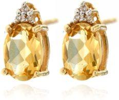 14k Yellow Gold Yellow Citrine Genuine Gemstone and Diamond Stud Earrings For Women Birthstone of November