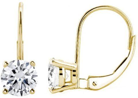 JewelMore 0.30 CTW Round White Diamond Leverback Earrings in 14K White Gold (I-J-K/ I2-I3) (Yellow Gold)
