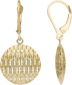 Kooljewelry 14k Yellow Gold Puffed Discs Leverback Earrings