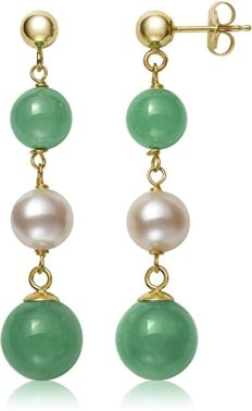 Cultured Freshwater Pearl and Jade Earrings for Women in 14K Gold