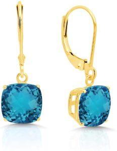 14k Yellow Gold London Blue Topaz Dangle Leverback Earrings (8mm)