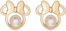 Disney Minnie Mouse 14KT Yellow Gold Stud Earrings with Genuine Pearls