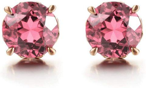 Carleen 14k Solid Rose Gold Natural Pink 0.7258ct Tourmaline Stud Earrings for Women Girls