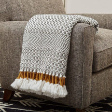 "Amazon Brand – Rivet Modern Hand-Woven Stripe Fringe Throw Blanket, 50"" x 60"", Grey and White with Mustard Yellow"