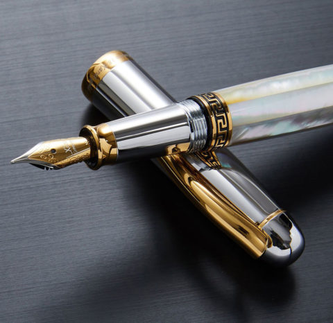 Xezo Maestro Mother of Pearl, Platinum and 18K Gold Finish Medium Point Handcrafted Serialized Fountain Pen. No Two Alike