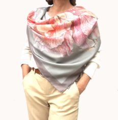 Designer Square Silk Scarf for Women Hand Painted and Printed Grey Shawl with Pink Rose Unique Luxury Large Satin Neckerchief for Any Season Fashion Gift for Lady Who Has Everything