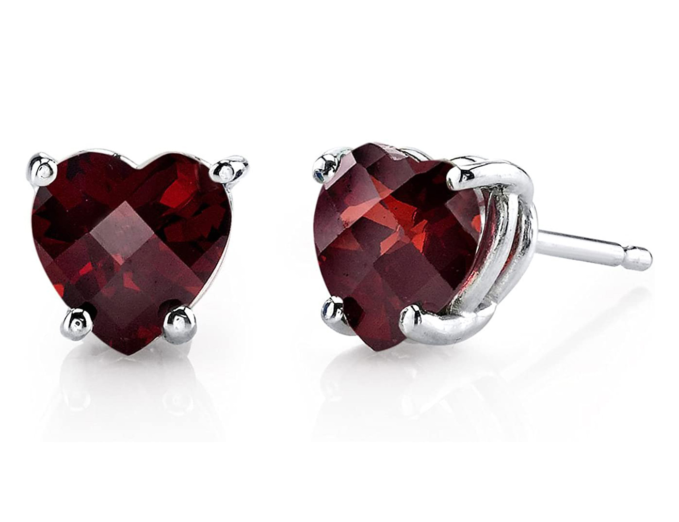 Peora Garnet Heart Stud Earrings for Women in 14 Karat White Gold, Classic Solitaire Studs, 6mm, 1.75 Carats total, Friction Back