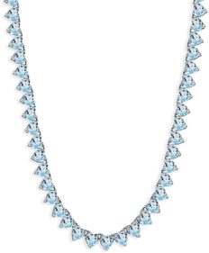 Sterling Silver Blue Topaz Heart Classic Tennis Necklace, 16 Inches