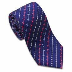 Josh Bach Men's Heartbeat Pattern EKG Silk Necktie, Made in USA
