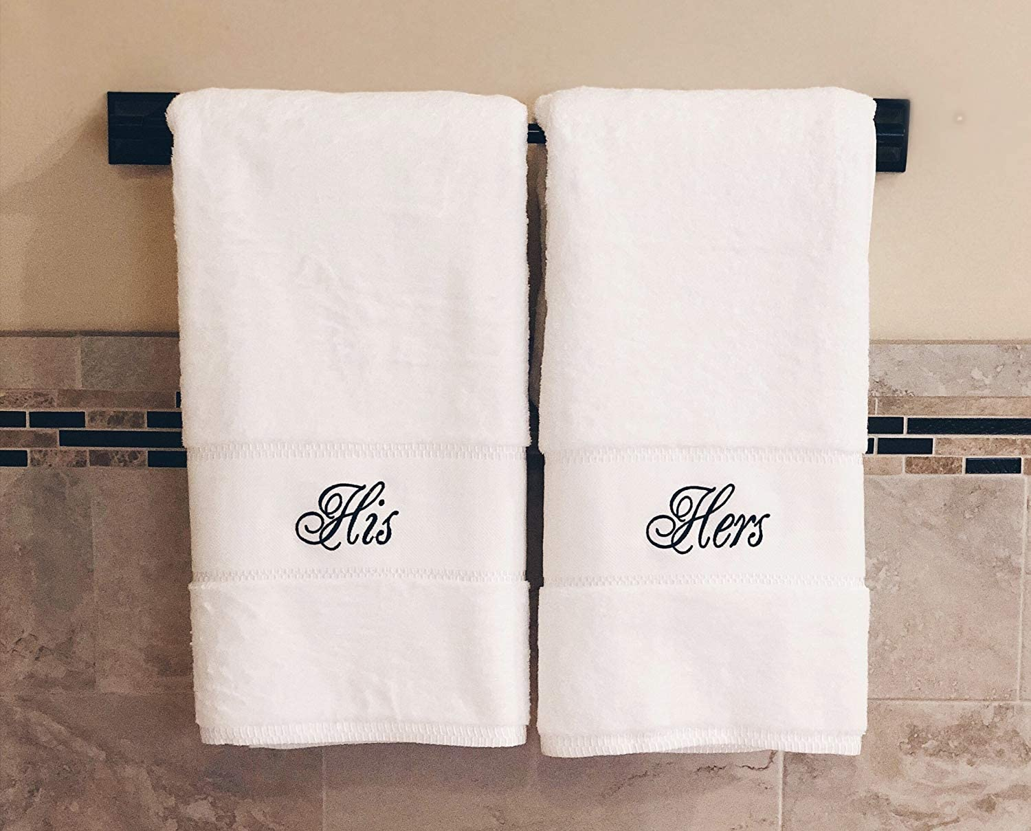 His and Hers Bath Towel Set | Anniversary Wedding Engagement Gifts for Couples