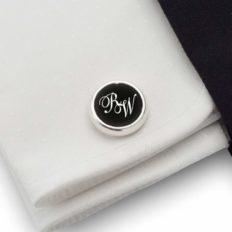 Initial cufflinks Personalized sterling silver cufflinks Mens birthday gift Gift for Men Black Onyx gemstones 925 Silver, Gift Message, Box, Handmade