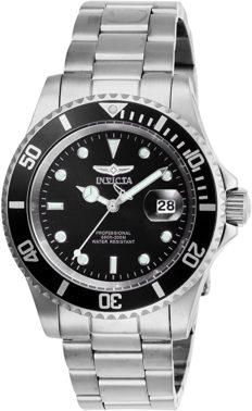 Invicta Men's Pro Diver 40mm Stainless Steel Quartz Watch, Silver/Black (Model: 26970)