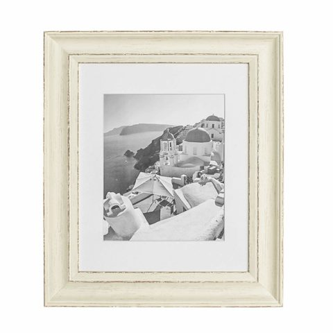 Golden State Art, 11x14 Cream Color Photo Frame, Shabby Chic Distressed Wood Grain Pattern, 2-inch Width, with Ivory Mat for 8x10 Picture & Real Glass