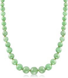 Ross-Simons 6-13mm Graduated Green Jade Bead Necklace With 14kt Yellow Gold. 20 inches