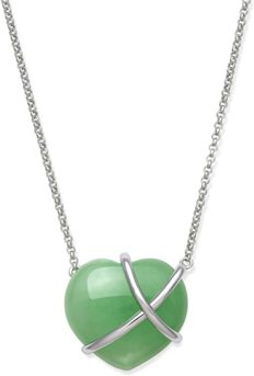 Sterling Silver Natural Jade Heart Necklace