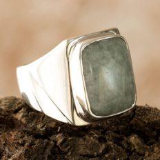 NOVICA Natural Jade .925 Sterling Silver Modern Men's Ring, Fortress'