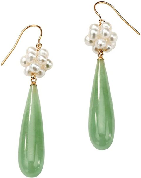 10K Yellow Gold Genuine Green Jade and Cultured Freshwater Pearl Drop Earrings (62x11mm)