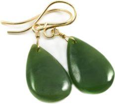 14k Yellow Gold Nephrite Jade Earrings Dark Green Everyday Simple Teardrop Medium Smooth Drops (yellow-gold)