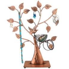 MyGift Jewelry Tree Bronze Bird Nest 48 Pair Earrings Holder, Bracelets/Necklace Organizer Stand