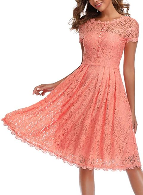 OWIN Women's Retro Floral Lace Cap Sleeve Vintage Rockabilly Swing Prom Party Bridesmaid Dress