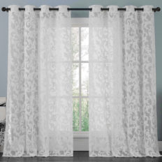 brightmaison White Lace Curtain Panel 57 X 98 Inches, Beautifully Crafted Floral Pattern Window Curtain Filters The Light Preserves Privacy (Athena)