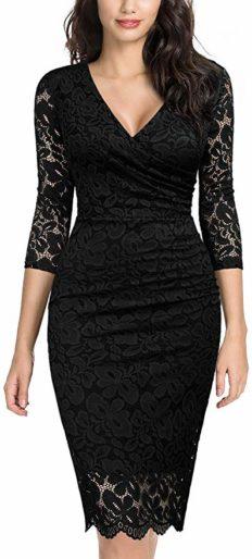Miusol Women's Retro Deep-V Neck Ruffles Floral Lace Evening Pencil Dress (Small, D-Black)