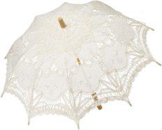 BABEYOND Lace Umbrella Parasol Vintage Wedding Bridal Umbrella for Decoration Photo Lady Costume 1920s Party (Apricot)