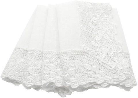 Manor Luxe Garden Trellece Lace Trim Napkins, 20-Inch, Set of 4, White, 20 x 20
