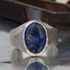 Omer 925 Sterling Silver Hammered Handmade Lapis Lazuli Men's Ring Gift For Men