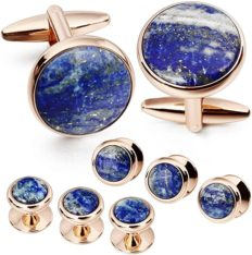 Mens Mother of Pearl Cufflinks and Dress Studs Set for Wedding Party (400298)