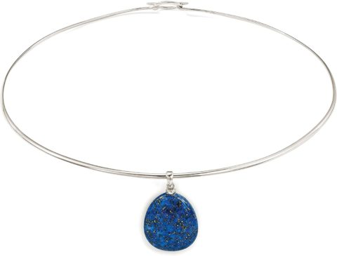 Ross-Simons Lapis Drop Pendant Collar Necklace in Sterling Silver. 16 inches