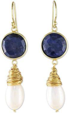 NOVICA Lapis Lazuli Cultured Freshwater Pearl 24k Gold Plated Silver Dangle Earrings, Moonlit Dawn'
