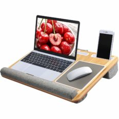 HUANUO Lap Desk - Fits up to 17 inches Laptop Desk, Built in Mouse Pad & Wrist Pad for Notebook, MacBook, Tablet, Laptop Stand with Tablet, Pen & Phone Holder (Wood Grain)