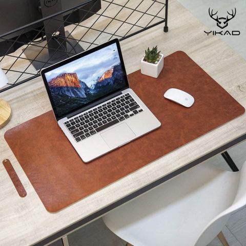 "Yikda Leather Mouse pad Desk mat, Microfiber Leather Desk pad Large Mouse pad, Waterproof Desk Mat for Desktop (31""x15.7"" Dark Brown)"