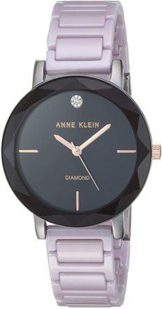 Anne Klein Women's AK/3365GYLV Diamond-Accented Lavender Ceramic Bracelet Watch