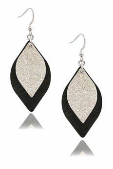 missaqua Leather Earrings for Women Leaf Dangle Small Real Leather Handmade Fashion Trendy Glitter Earrings