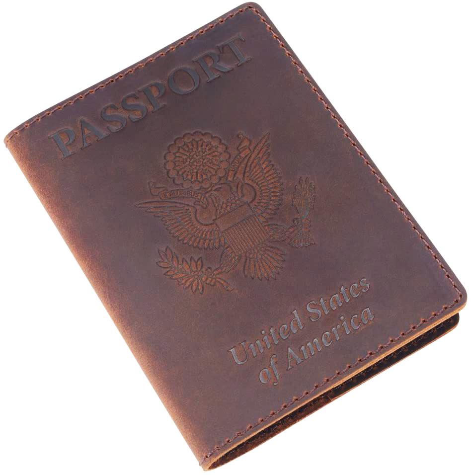 Leather Passport Cover - Passport Holder Case for Men & Women - Brown